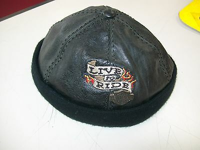 Authentic Harley Davidson Leather Beanie With Metal Pin Rare Biker Motorcycle!