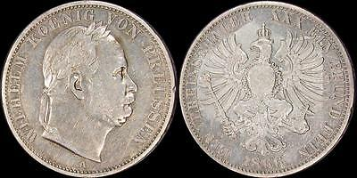 German State of Prussia: 1866-A Wilhelm Laureate  Thaler Silver < KM # 494 >