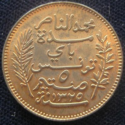 Tunisia 5 Centimes 1907 red UNC #394