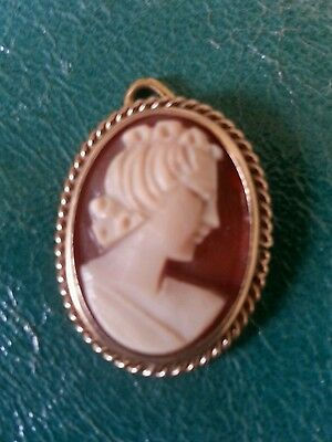 Vintage 9ct gold cameo necklace pendant hallmarked WJP