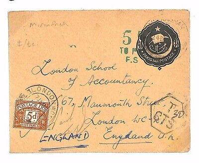 BE28 1956 PAKISTAN Stationery to GB Underpaid 5d Postage Dues