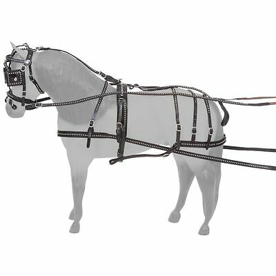 Tough 1 Show Spotted Leather Miniature Horse Driving Harness Bridle Black