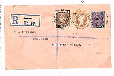 BE29 GB Norwood Registered Stationery 1d Pink QV KEVII Mixed Reigns