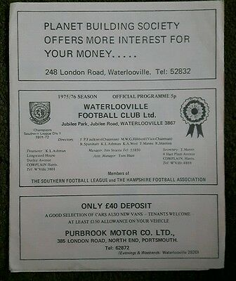 Football Programme Waterlooville v Sutton Utd FA Cup 4th Qual Rnd Replay 1975