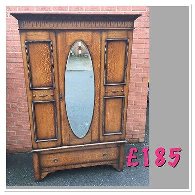 Solid oak 1920s large double wardrobe mirrored front good order
