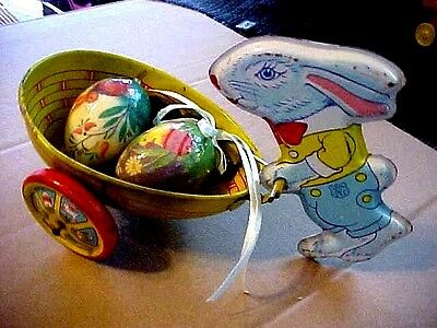 VINTAGE METAL EASTER BUNNY PUSHING EGG CART With EGGS in IT.BY J.CHEIN & CO. USA
