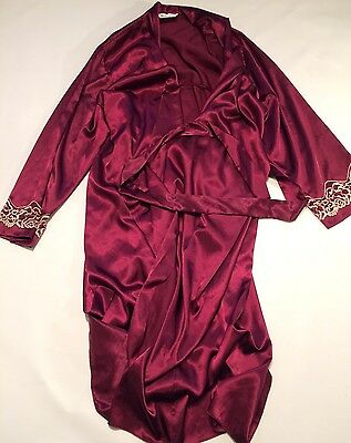 vintage dressing gown smoking jacket  mens L Robe Paisley BHS Silky  80s