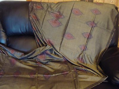 "Vintage New And Unused Ikat Shiny Cotton Fabric Length Indonesian 106"" X 43"""