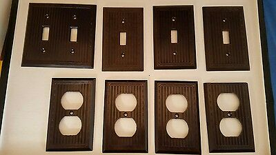 Vintage Bakelite Brown Bryant Light Switch Electrical Plug Wall Plates Lot