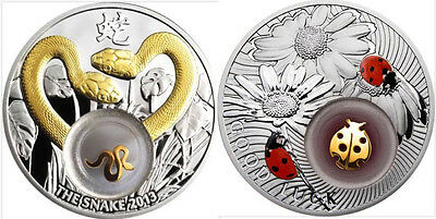 2 X Niue 2012 $2 Golden Snakes and Ladybird Lucky Coins II Proof Silver Coin