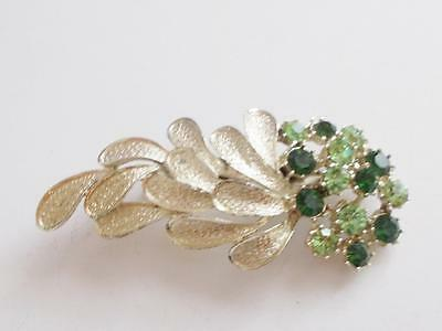Vintage 1950's Signed Coro Two Tone Green Glass Crystal Floral Leaf Brooch