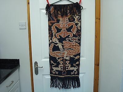 "Vintage New And Unused Ikat Hanging From Indonesia With Croc Design 35"" X 15"""