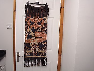 "Vintage Used Ikat Hanging From Indonesia With Crocodile Design 36"" X 15"""