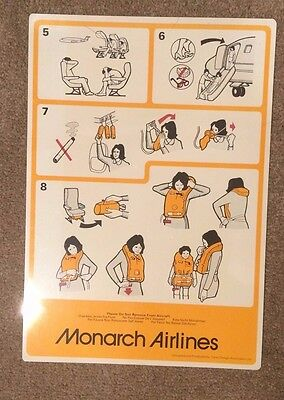 Monarch Airlines BAC 1-11 Safety Card 1980'S