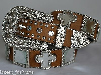 Brown Cowhide Cross Concho Bling Cowgirl Rodeo Buckle Studs Leather Belt S New