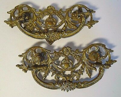 Antique Brass Drawer Pulls Handles Flowing Leaf Floral Shield Design With Patina
