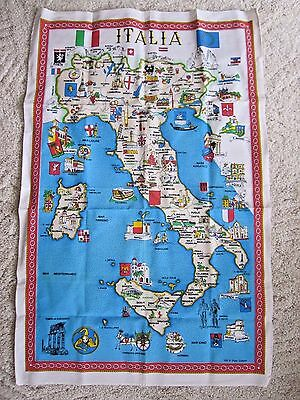 """Large Vintage """"Italia"""" Italy Map & Attractions Cotton Tea Towel - Never Used!"""