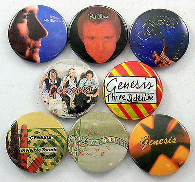 GENESIS AND PHIL COLLINS BADGES 8 x Vintage Button Badges * Three Sides Live *