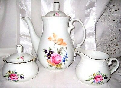 Bohemian China - Bouquet - Coffee Pot & Cream & Sugar Bowl