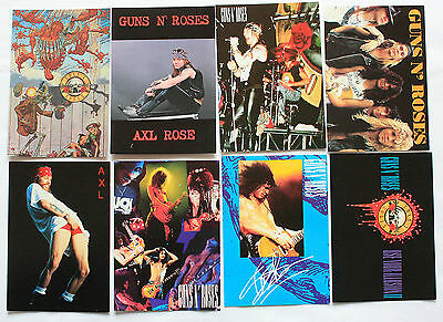 GUNS N'ROSES POSTCARDS 8 x Vintage G N'R Postcards * Axl Rose * Slash *
