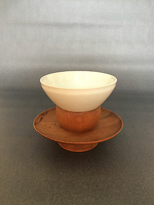 White Tenmoku Chawan Tea Bowl with Offering Stand Japanese Tea Ceremony