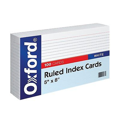 "NEW Oxford Ruled Index Cards 5"" x 8"" White 100/Pack (51) FREE SHIPPING B45"