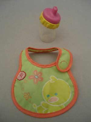 BABY ALIVE DOLL pink yellow MAGNETIC BOTTLE accessory replacement + Duck Bib