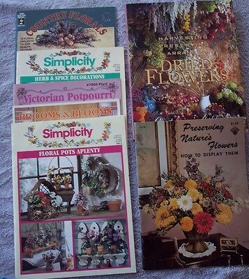 Dried Flower Floral Arrangement Brooms Blooms Herb Spice Lot of 7 Craft Books