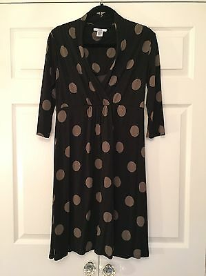 Mamas and Papas Black/Brown Spotted Maternity/Nursing Dress - Size 14