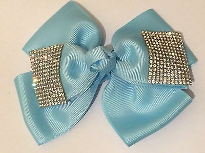 5inch Girls Sky Blue Hair Bow Covered in Clear Rhinestones  w clip