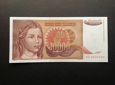 Yugoslavia uncirculated banknote for 10000 Dinara dated 1992.
