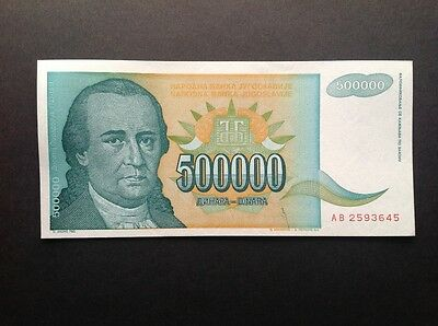 Yugoslavia uncirculated banknote for 500000 Dinara dated 1993.