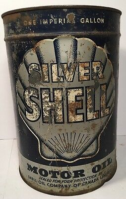 Vintage Silver Shell Motor Oil Can Shell Canada Handle Spout 1 Gallon Advert Gas