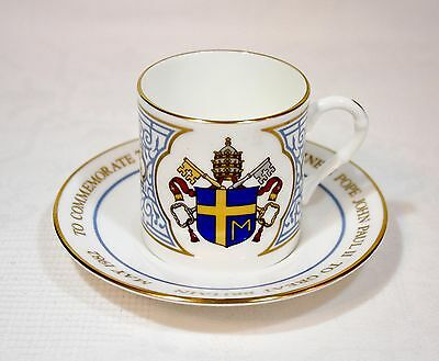 Vintage Royal Worcester China Coffee Cup & Saucer - 1982 Visit of Pope John Paul