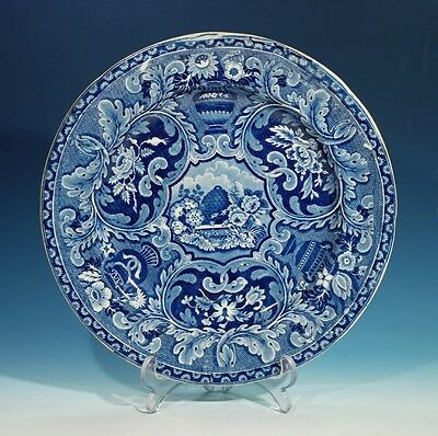 19th Century Antique Blue & White Plate Decorated with Foliage & Bee Hive.