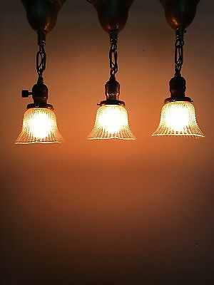 """Three 14.5"""" Brass Pendant Lights With Shades Newly Wired Home Kitchen Bar"""