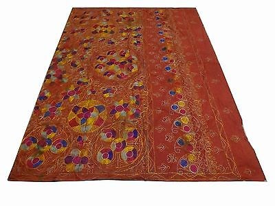Vintage Hand Made Silk Embroidery Wall hanging Uzbek Suzani Upholstery 6x4 (s31)