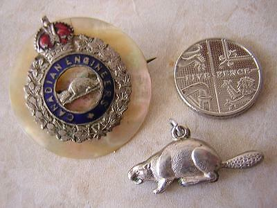 Edwardian Canadian Engineers Sweethearts Brooch Pin Badge & Silver Beaver Charm