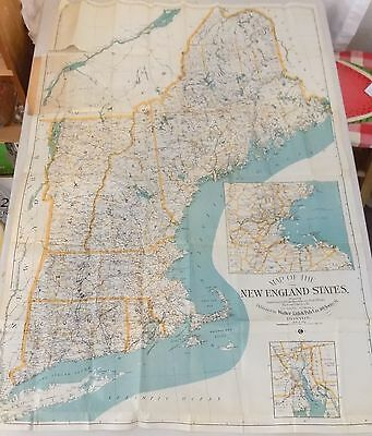 Antique Pocket Road Map The New England State Walker Litho. & Pub. Co. - Rare