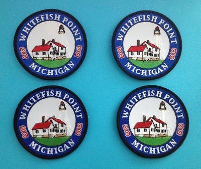 4 Lot Rare Vintage Whitefish Point Michigan Hat Jacket Biker Vest Travel Patches