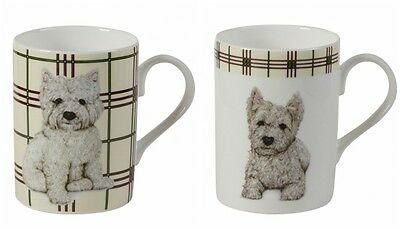 Roy Kirkham West Highland Terrier Mugs Set of 2 Fine Bone China Westie Dog Gift