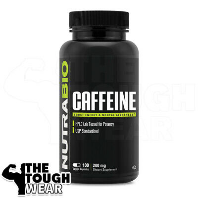 NUTRABIO - CAFFEINE 200mg 150caps - 100% Pure - Boost Energy & Mental Alertness