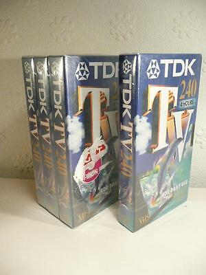 4 x 4 hour NEW BLANK SEALED TDK 240 VHS VIDEO CASSETTE TAPES -VHS