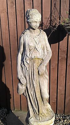 LARGE STATUE OF GRECIAN GIRL ON COLUMN- Hand Cast Stone Garden Ornament Statue