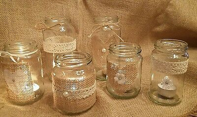 6 Wedding/Christmas Jar Candle Holder for Centre Piece Rustic/Vintage style