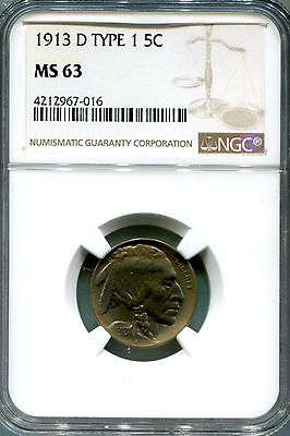 1913 D Type 1  Buffalo Nickel 5 Cents NGC MS63