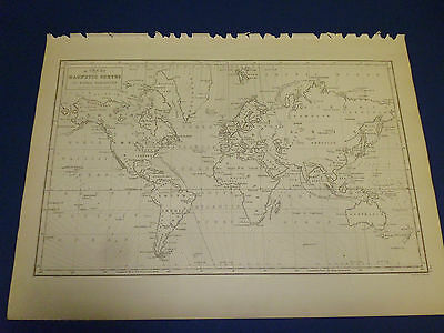 100% Original Magnetic Curves World  Map By Black/hall C1844 Vgc Low Postage