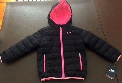 NWT Girls' Nike Full Zip Hooded Winter Jacket Coat Black Pink Size S Small $75