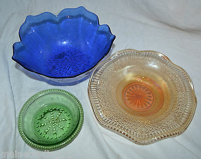 Vintage Art Deco Coloured Glass Bowls