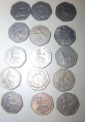 15 early issue 50p coins